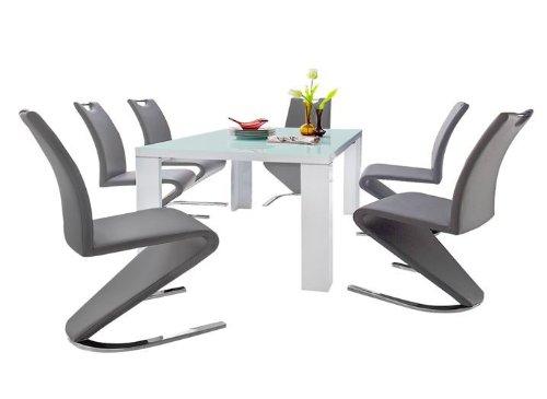 Dreams4Home Essgruppe Rosa Tischgruppe Glasplatte MDF Esstisch 6 x Freischwinger, weiß, grau