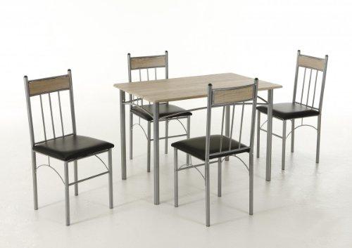 Dreams4Home Essgruppe Silvie 5tlg. Holzteile Sonoma Eiche Tischgruppe Set Esszimmer