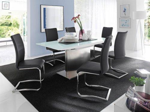 Dreams4Home Essgruppe Venga Tischgruppe MDF Hochglanz Esstisch weiß 6 x Freischwinger, schwarz