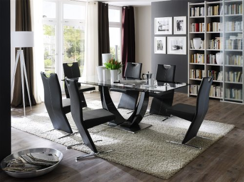 Dreams4Home Essgruppe Viola Tischgruppe Glastisch Esstisch 4 x Freischwinger schwarz