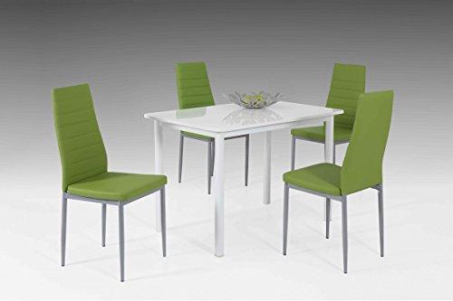 Dreams4Home Tischgruppe 'Belinda', 4x Stuhl, grün, Esszimmertisch, Küchentisch, Esszimmer, Tisch, Weiß, Hochglanz