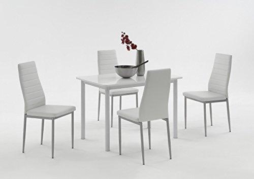 Dreams4Home Tischgruppe 'Belinda I', 4x Stuhl, Esszimmertisch, Küchentisch, Esszimmer, Tisch, Weiß, Hochglanz