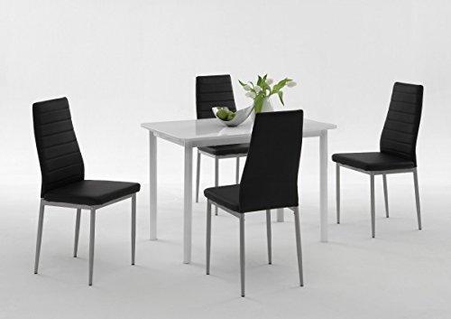 Dreams4Home Tischgruppe 'Belinda II', 4x Stuhl, Esszimmertisch, Küchentisch, Esszimmer, Tisch, Weiß, schwarz, Hochglanz