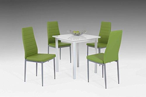 Dreams4Home Tischgruppe 'Berrit', 4x Stuhl, Esszimmertisch, Küchentisch, Esszimmer, Tisch, Weiß,grün, Hochglanz