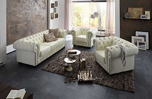 echt leder chesterfield garnitur set 3 1 1 sofa creme sessel und 3 sitzer couch m bel24 shop. Black Bedroom Furniture Sets. Home Design Ideas