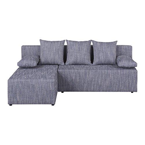eckcouch ecksofa sofa couch lasse mit schlaffunktion strukturgewebe in grau mit kissen. Black Bedroom Furniture Sets. Home Design Ideas