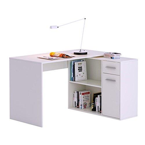 Eckschreibtisch LENA Schreibtisch Computertisch in weiß, mit Regal, 120 x 75 x 91,5 cm