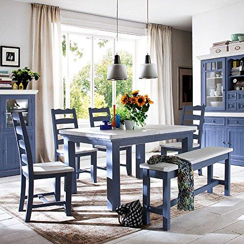 Essgruppe Massiv Holz Falun 180cm bis 220cm ausziebarer Tisch Essecke Used Look Vintage Set Shabby Style