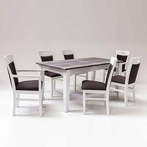 Esstisch mit 6 Stühlen Landhausstil (7-teilig) Pharao24