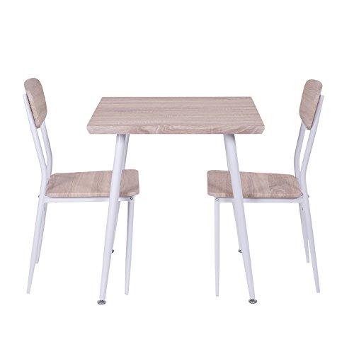 Esstischgruppe für zwei Personen Essgruppe Sitzgruppe Holz mit 2 Stühlen und Tisch 70x70 cm