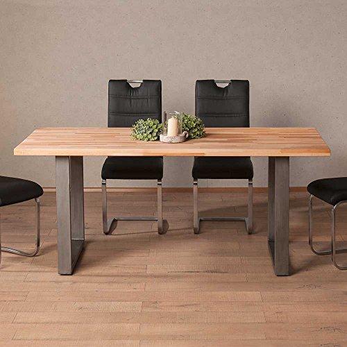esszimmertisch aus kernbuche massiv eisen breite 200 cm tiefe 100 cm pharao24 0 m bel24. Black Bedroom Furniture Sets. Home Design Ideas