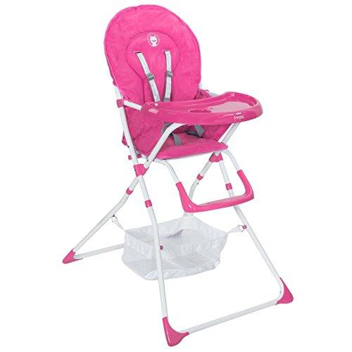 Froggy Baby Kinder Hochstuhl mit Sicherheitsgurt und Großem Esstisch, Zusammenklappbar, Pink