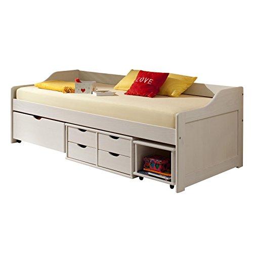 funktionsbett sofia 90 200 cm mit schubladen kiefer massiv wei inkl lattenrost funktionsliege. Black Bedroom Furniture Sets. Home Design Ideas