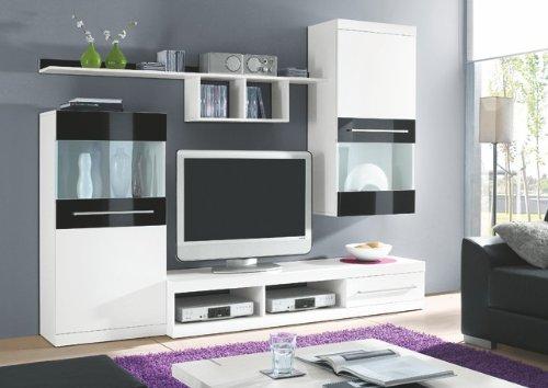 hbz wohnwand abano wei schwarz hochglanz 0 m bel24 shop xxxl. Black Bedroom Furniture Sets. Home Design Ideas