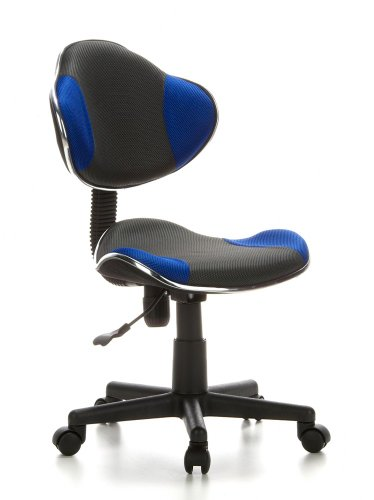 hjh OFFICE 633000 Kinder-Schreibtischstuhl KIDDY GTI-2 Stoff Grau / Blau Ergonomischer Bürostuhl Jugenddrehstuhl Höhenverstellbar