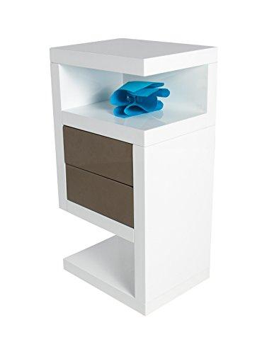 """HL Design 01-08-110.1 Boxspring-Nako """"Neomi"""", 40 x 28 x 69 cm, links, Schublade push-to-open in taupe, eingesetzte Rollen, weiß hochglanz"""