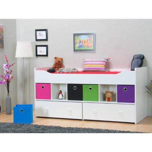 halbhohes bett marianne 90 x 200 bettgestell jugendbett einzelbett bett wei 0 m bel24 shop xxxl. Black Bedroom Furniture Sets. Home Design Ideas