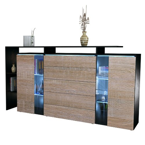 highboard sideboard lissabon in schwarz matt eiche sgerau 0 m bel24 shop xxxl. Black Bedroom Furniture Sets. Home Design Ideas