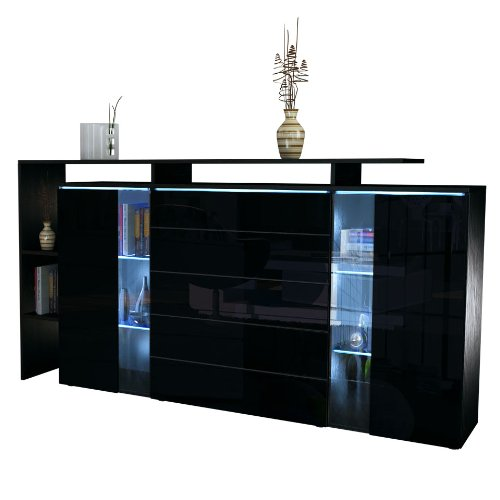 highboard sideboard lissabon in schwarz matt schwarz hochglanz m bel24. Black Bedroom Furniture Sets. Home Design Ideas