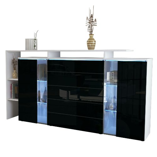 highboard sideboard lissabon in wei matt schwarz. Black Bedroom Furniture Sets. Home Design Ideas