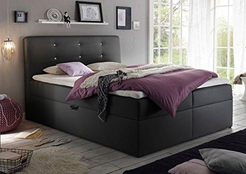 homeline boxspringbett boxspringbett 140 200 schwarz oder weiss xxlmit kasten visco bett. Black Bedroom Furniture Sets. Home Design Ideas