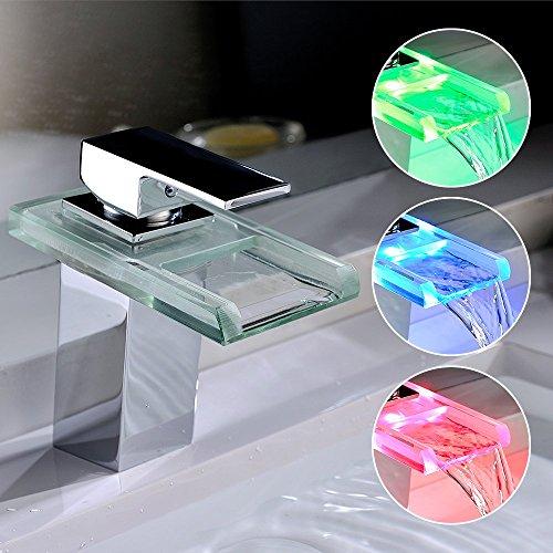 homelody led rgb wasserfall armatur wasserhahn waschbeckenarmatur einhebelmischer waschbatterie. Black Bedroom Furniture Sets. Home Design Ideas