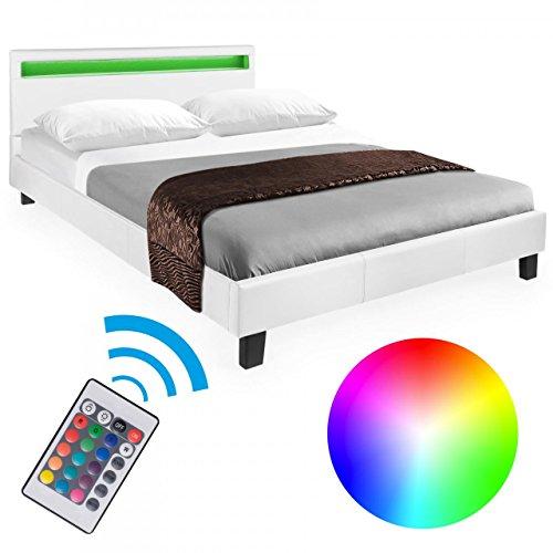 homelux led bett polsterbett doppelbett kunstlederbett bettgestell bettrahmen 140 x 200 cm weiss. Black Bedroom Furniture Sets. Home Design Ideas