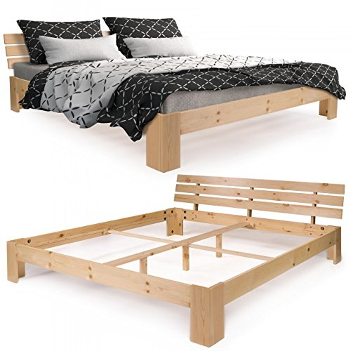 homelux massivholzbett kiefer doppelbett balkenbett bettgestell bettrahmen 180 x 200 cm natur. Black Bedroom Furniture Sets. Home Design Ideas