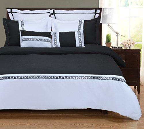 Superior - 7-teiliges, knitterfestes Bettbezugsset Emma, 229 x 234 cm, weiß/schwarz