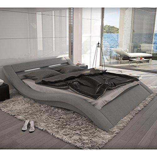 innocent polsterbett grau aus alcantara stoff mit led beleuchtung look 140 x 200 cm m bel24. Black Bedroom Furniture Sets. Home Design Ideas