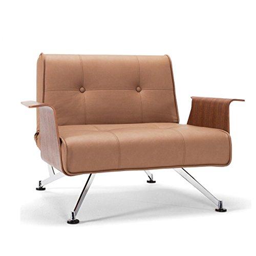 Innovation Clubber 03 Sessel, braun Kunstleder Bezug Dess. 593 Nubucko SaTwist Armlehnen walnuß Liegefläche 114x90cm
