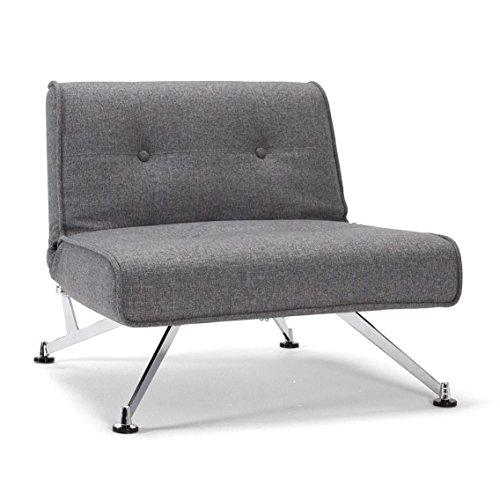 Innovation Clubber Sessel, dunkelgrau Bezug 563 Twist Charcoal Beine Stahl verchromt Liegefläche 115 x 90cm