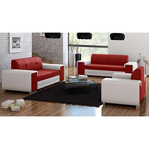 JUSTyou BAVERO Polstergarnitur Wohnzimmerset Sofagarnitur (3+2+1) Kunstleder Weiß Rot