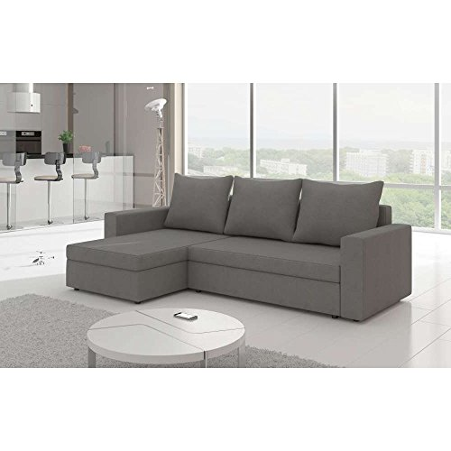 justhome livio i ecksofa polsterecke schlafsofa mikrofaser bxlxh 150x237x85 cm grau ottomane. Black Bedroom Furniture Sets. Home Design Ideas