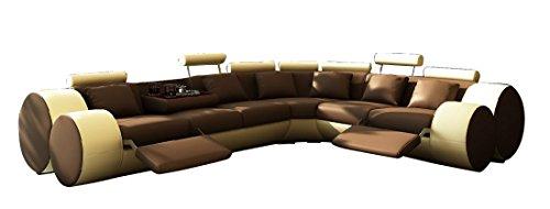 jvmoebel ledersofa design ecksofa madrid mit relaxfunktion braun wei 310 270 oder 270 310. Black Bedroom Furniture Sets. Home Design Ideas