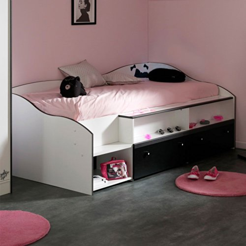 jugendbett kinder bett weiss schwarz pedro pharao24 m bel24. Black Bedroom Furniture Sets. Home Design Ideas