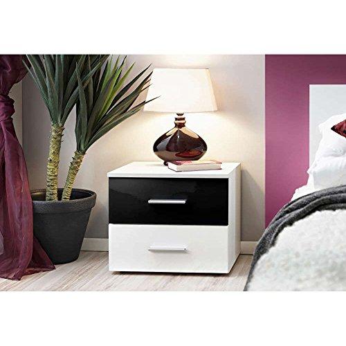Just home VICKY Nachttisch Nachtkonsole Nachtschrank (HxBxT): 40x50x40 cm Weiß Matt / Schwarz Weiß Hochglanz