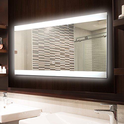 krollmann badspiegel led spiegel mit beleuchtung durch satinierte lichtflchen 80 x 40 cm. Black Bedroom Furniture Sets. Home Design Ideas