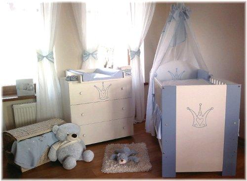 "Kinderbett ""Baby-Krone"" blau incl. Wickelkommode, Lattenrost, Matratze, Bettwäsche Komplettset 12 Teile"