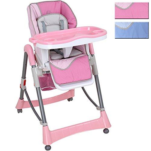 Infantastic Kinderhochstuhl Babyhochstuhl mit Sicherheitsgurt-System, höhenverstellbar, klappbar, rosa