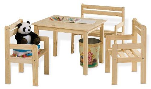 Sitzgruppe Kindersitzgruppe Kindertischgruppe KAI | Holz Kiefer Massiv | Tisch, 2 Stühlen & Sitzbank
