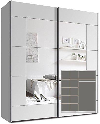Kleiderschrank Schwebetürenschrank, ca. 180cm, inkl. 9 Einlegeböden Weiß Spiegel