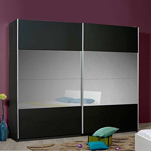 kleiderschrank mit spiegel und spiegelt ren schwarz pharao24 m bel24. Black Bedroom Furniture Sets. Home Design Ideas