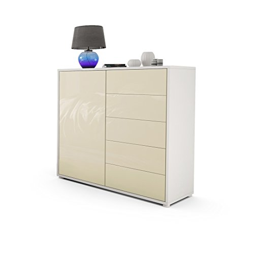 kommode sideboard ben v2 korpus in wei matt fronten in creme hochglanz 0 m bel24 shop xxxl. Black Bedroom Furniture Sets. Home Design Ideas