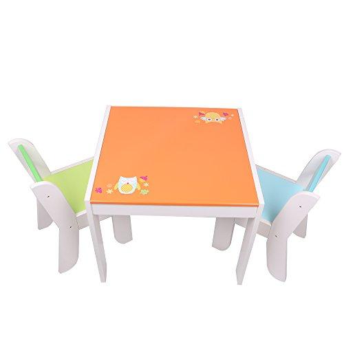Labebe Kindertisch Holz, Orange Eule Baby Tisch Stuhl Für 1-5 Jahre Alt, Activity Tisch/Sitzgruppe Kinder Tisch/Ausziehbar Stuhl Tisch/Spielzeug Kinder Tisch/Kindertisch Stuhl/Lernspaß Tisch Trinken