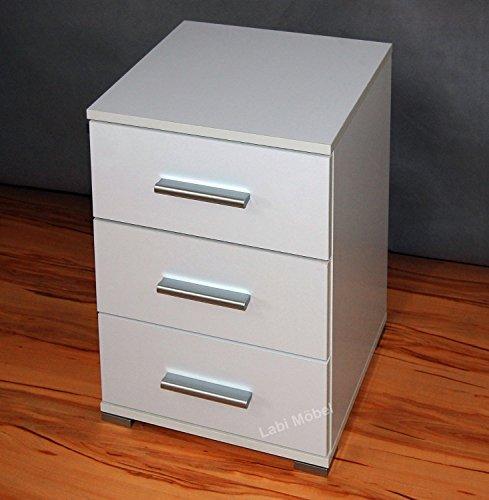Labi Möbel Alex 3x Schubladen Schrank Kommode Nachttisch Nachtschrank Nachtkasten Nachtkästchen Nachtkonsole Korpus:Weiß Matt/Fronten:Weiß Hochglanz