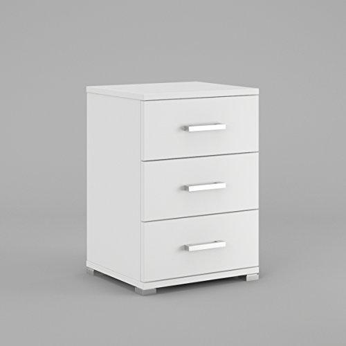 Labi Möbel N3 3x Schubladen Schrank Kommode Nachttisch Nachtschrank Nachtkästchen Nachtkonsole Weiß Matt