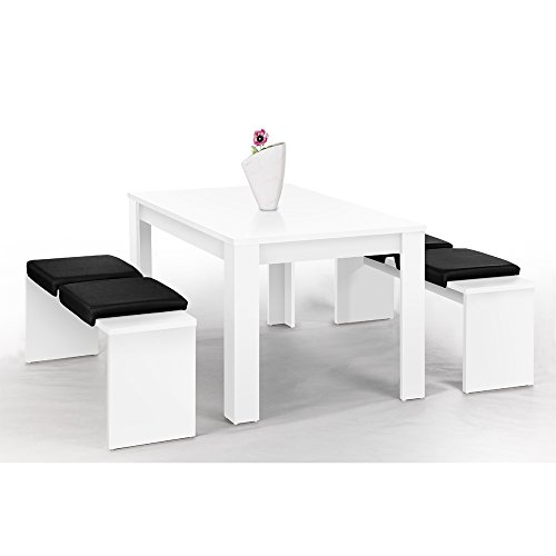 l beck bank set wei mit 1 tisch 140 x 90 cm und 2. Black Bedroom Furniture Sets. Home Design Ideas