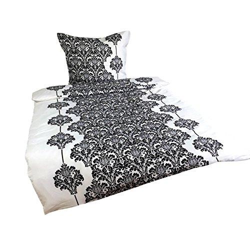Leonado Vicenti 4 teilig / 2x2 tlg. Bettwäsche 135x200 cm in schwarz/weiß aus Microfaser klassisch Set mit Reißverschluss