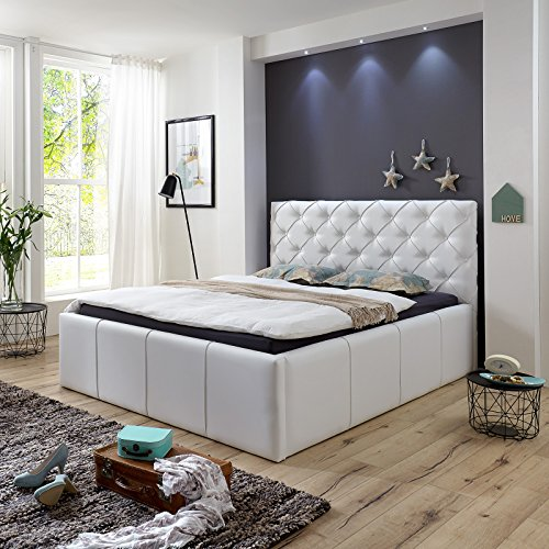 luxus polsterbett mit bettkasten nelly xxl 180x200 cm kunslederbett doppelbett ehebett wei 0. Black Bedroom Furniture Sets. Home Design Ideas